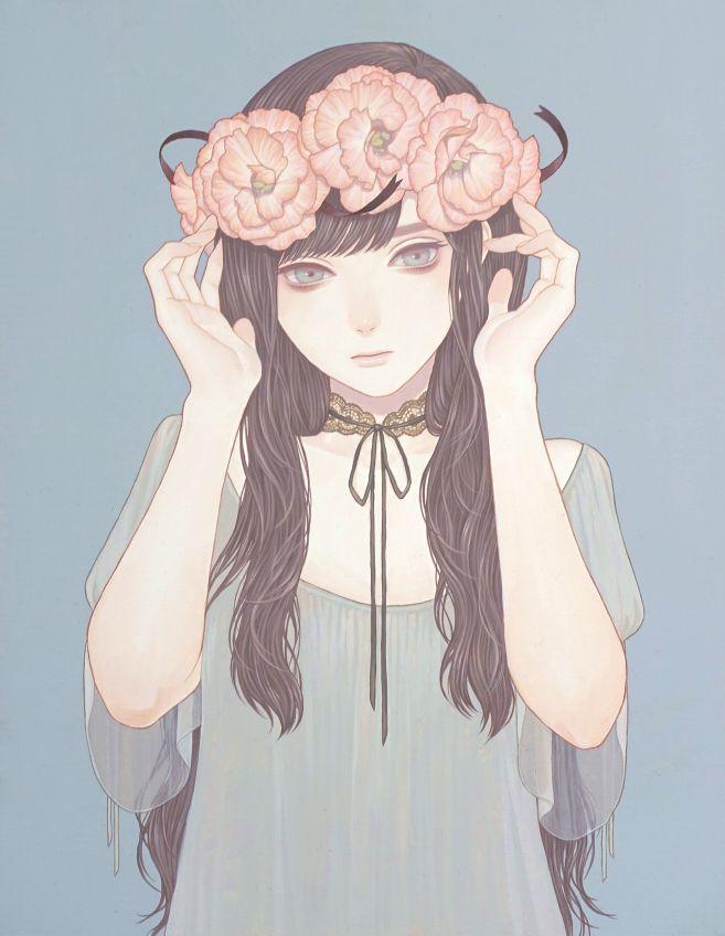 """konnomym: """" 「彼女が花の命を盗んだ」 紺野真弓 Mayumi Konno 2016 318x410mm キャンバスにアクリル Acrylic on Canvas """""""