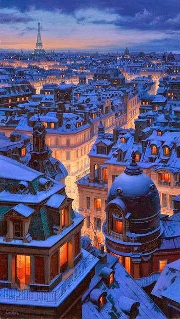 My favorite view of Paris, dusted with confectioner's sugar and to be enjoyed with some rich dark chocolate.