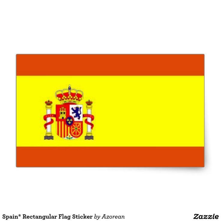 Spain* Rectangular Flag Sticker