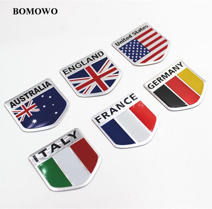 3D Aluminium USA Russland Frankreich Deutschland Italien UK Australien Nationalflagge Schild Auto Aufkleber Auto Styling Zubehör