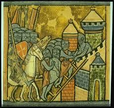 een tekening van een middeleeuws kasteel
