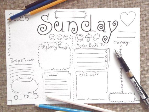 sunday journal printable daily planner agenda di LaSoffittaDiSte