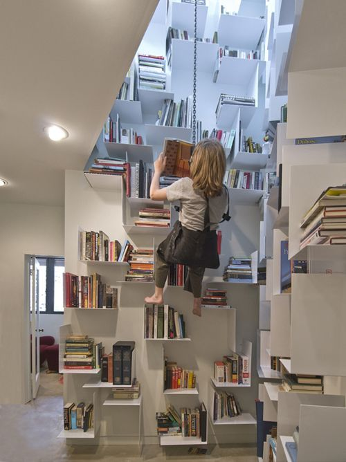 My dream home would have a vertical home library like the one at Jackalope Ranch - with access via bosun's chair: brilliant!