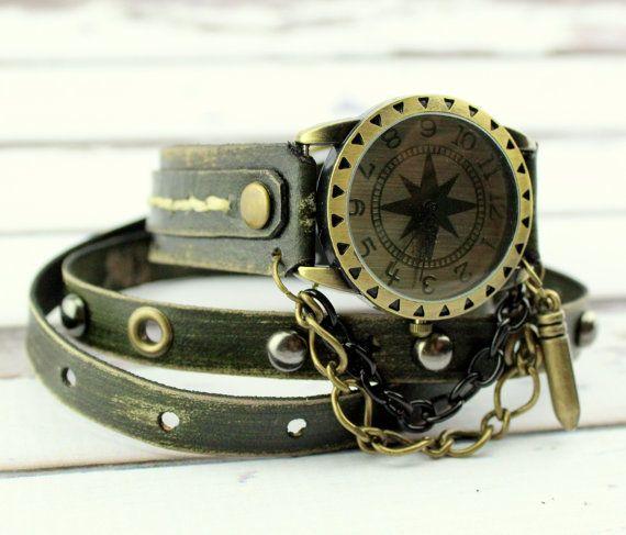 Army Green Leather Watch, Women's Wrap Watch, #accessories #watch @EtsyMktgTool #leatherwatch #leatherwristwatch #watchforwomen #wristwatch