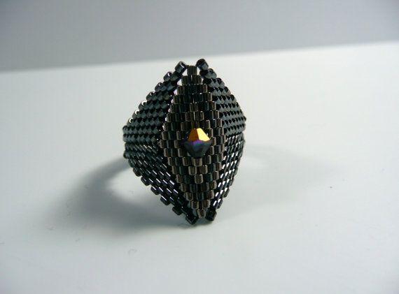 Anillo de perla diamante negro semilla, anillo de puntada Peyote, negro y plata, anillo de tamaño 10, anillo hombres, talla 4, 6, 8, 10