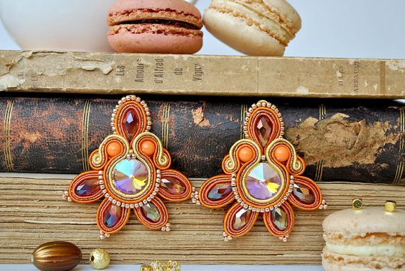 Handmade Soutache Lotus Earrings by MacarondeMinuit on Etsy