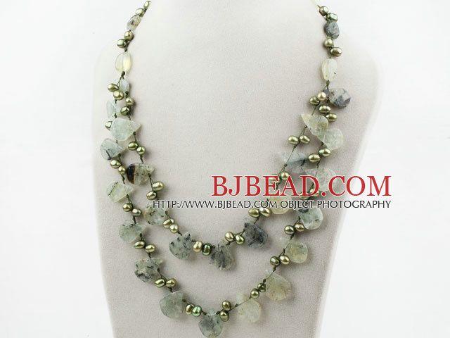 Dos de capa perla de agua dulce verde y collar de cuarzo rutilado verde