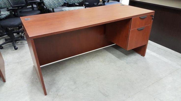 Cherry 65x30 Desk With Locking Drawers, Desk With Locking Drawers