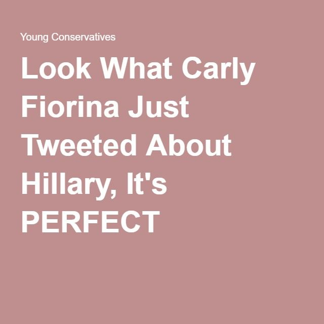 Look What Carly Fiorina Just Tweeted About Hillary, It's PERFECT