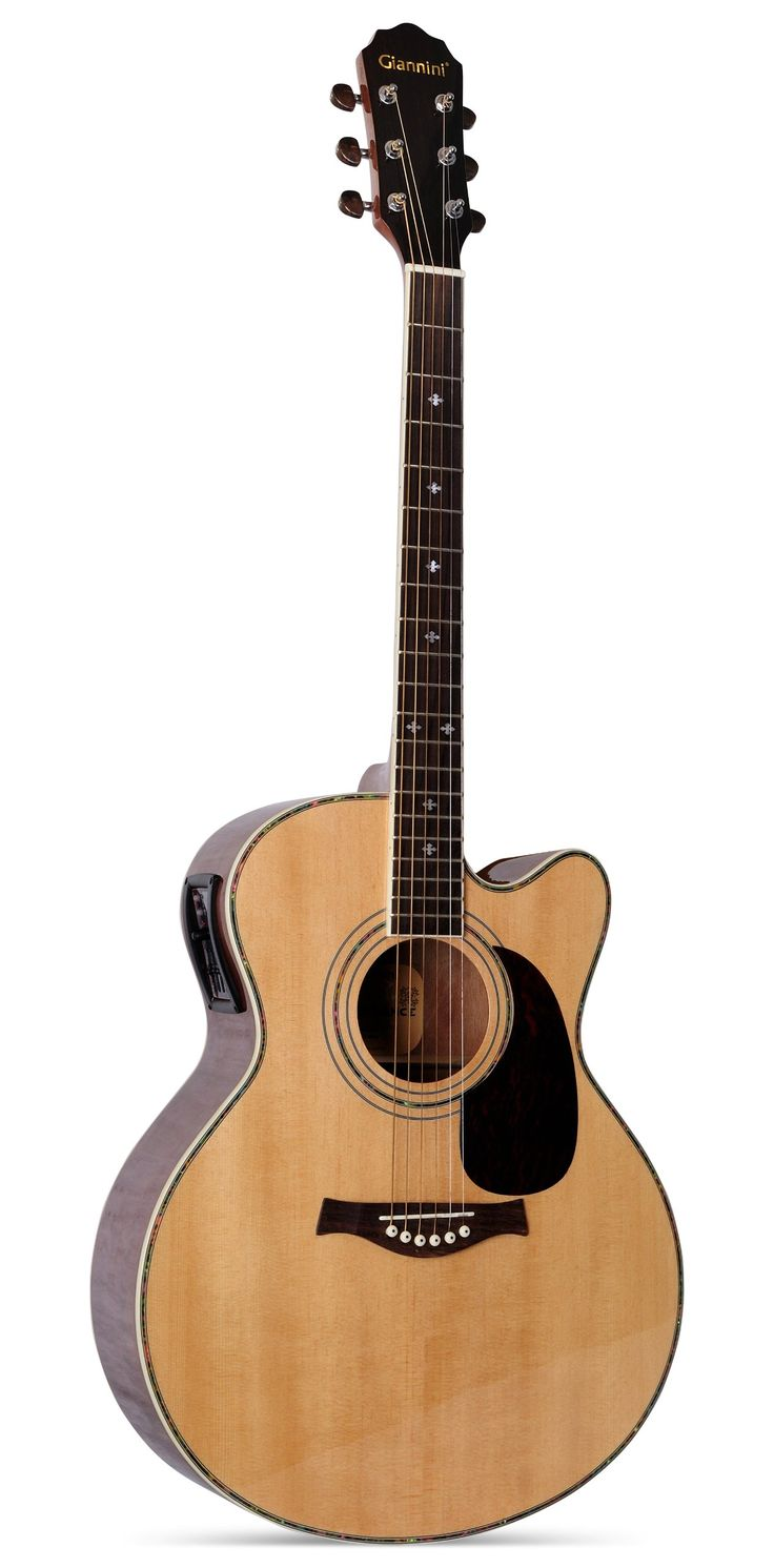 Giannini Guitars GF-4 CEQ S Acoustic-Electric Guitar, Sapelle Gloss. Designed in Brazil by Giannini Master Luthiers. Cutaway Design. Sapelle Gloss Finish.