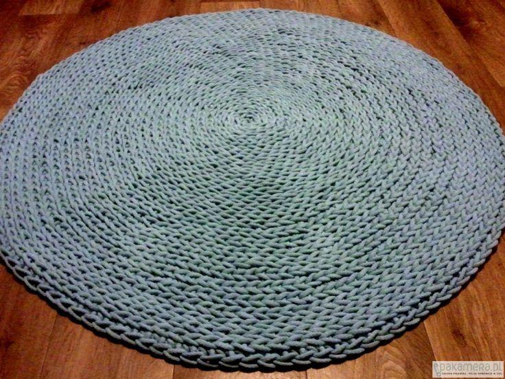 pokój dziecka - różne-Błękitny okrągły wykonany ręcznie dywan