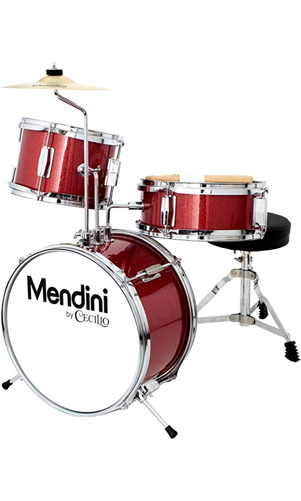 Mendini by Cecilio Metallic Red 13 Inch 3-Piece Junior Drum Set, MJDS-1-BR Best Price