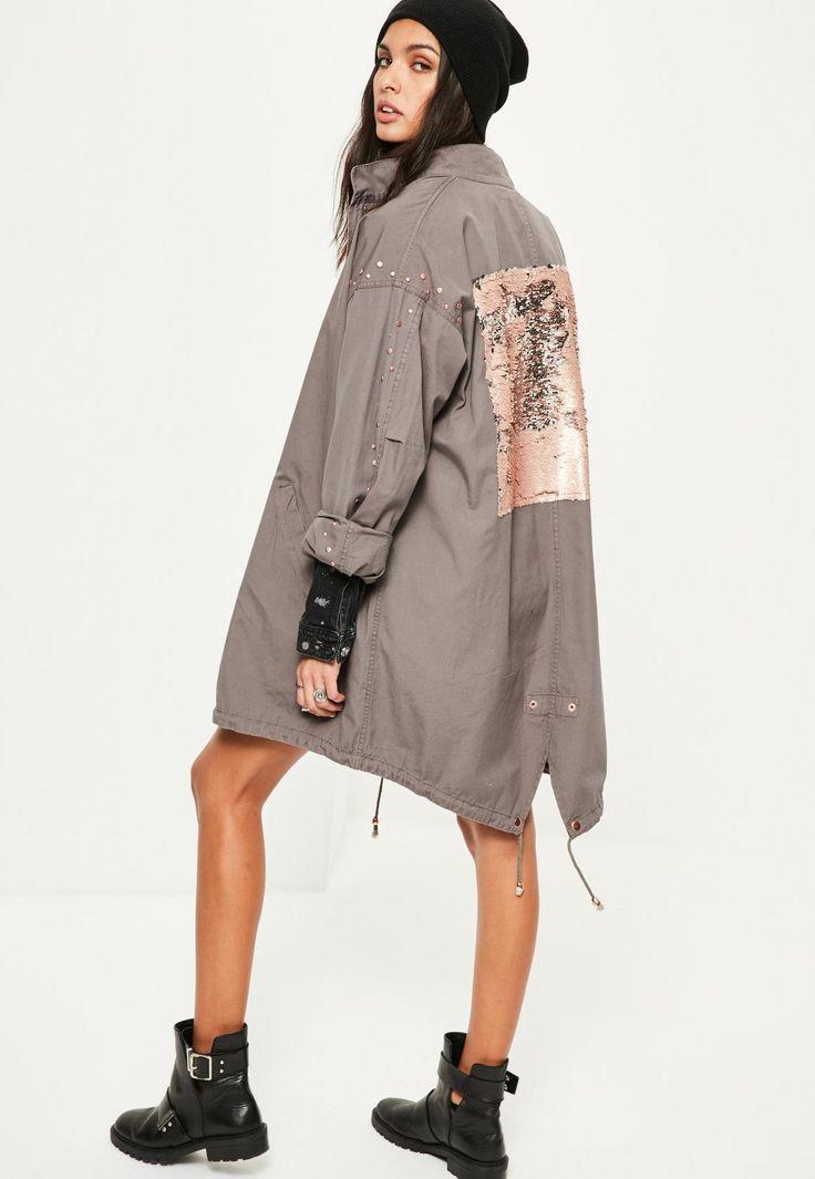 Missguided - Grey Sequin Back Oversized Parka Coat