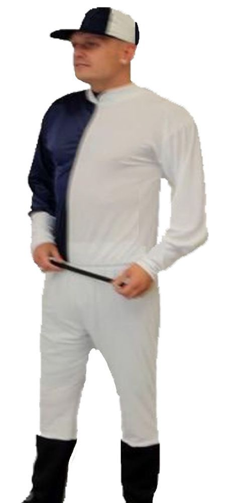 Navy Blue/White Cap Jockey Fancy Dress Horse Racing Stag Party Costumes UK Made