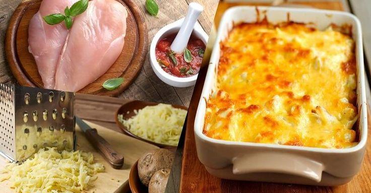Курица, запеченная под тертым картофелемНа 100 гр - 91.06 ккал белки - 10.57 жиры - 2.27 углеводы - 6.7Ингредиенты:Филе куриное 2 штукиКартофель 4 штукиЛук 1 штукаПомидоры 2 шт
