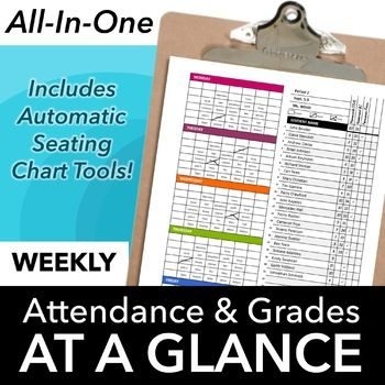 Classroom Seating Chart Attendance, Grade Sheet & Behavior Tracking Template: Streamline your paperwork by tracking attendance, behavior, grades and more for thewhole week on one page!It automatically copies student names into weekly seating charts and generates printable and projectable seating plans. At the end of the week, punch holes in the sheet and pop it into a binder.