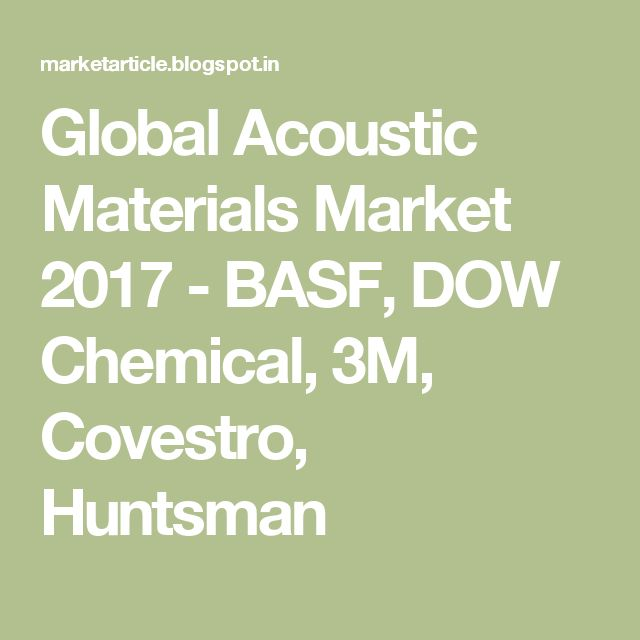 Global Acoustic Materials Market 2017 - BASF, DOW Chemical, 3M, Covestro, Huntsman