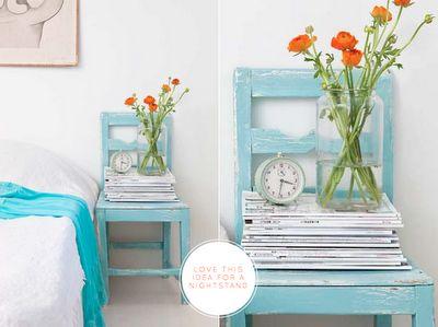 blue chair nightstand. ideia muito gira para mesa de cabeceira. e barata