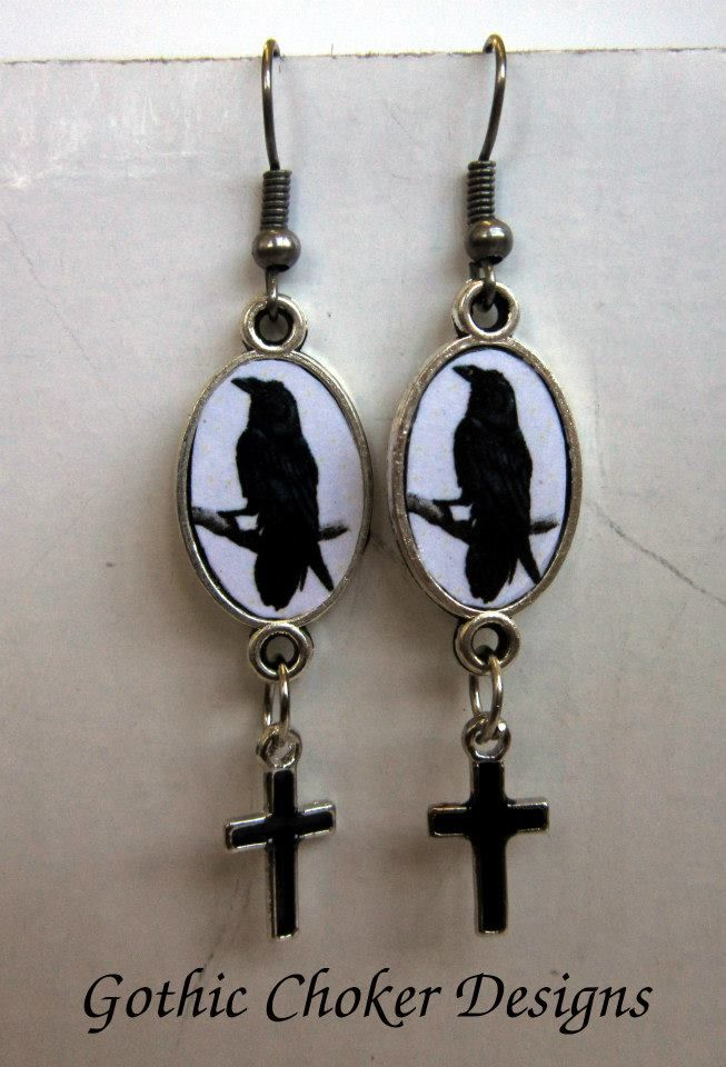 R90 approx $9 Purchase here: https://hellopretty.co.za/gothic-choker-designs/ravens-and-crosses-earrings