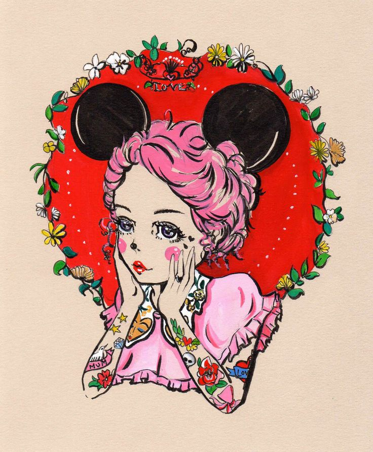 """""""Minnie Mouse"""" 2016 gouache painting by Olivia Au @oliviaumeiwa"""