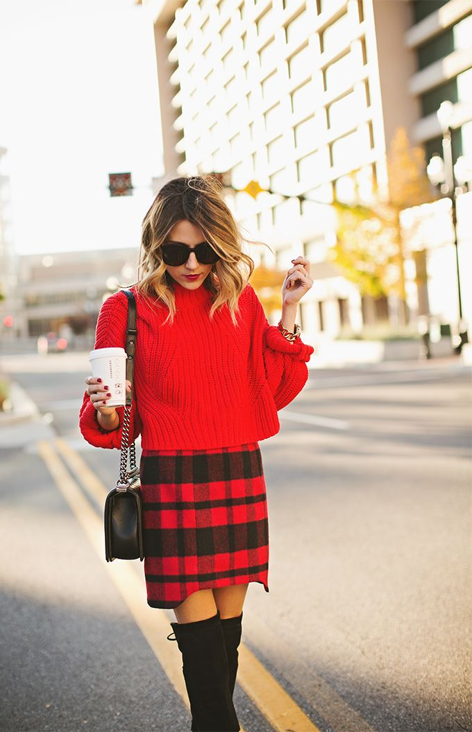 Red Cropped Sweater // Red Tartan Skirt // Black Over-the-Knee Boots // Chanel Bag