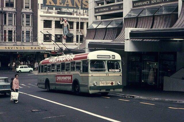 ARA Trolley Bus No71 Wyndham Street Auckland City 1973. Image & description via google