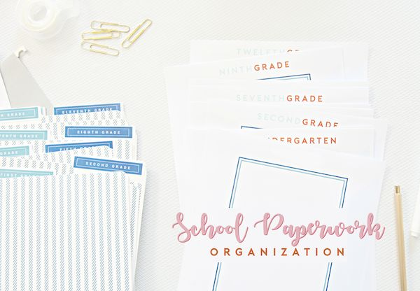 Great Organization DIY / How-To Post on School Paperwork. Learn how to organize yours and/or your kids paperwork with the FREE printables included -- and breeze right on through the school year until summer vacation next year! So simple. So easy. SO much less stress! Pin now, thank me later.