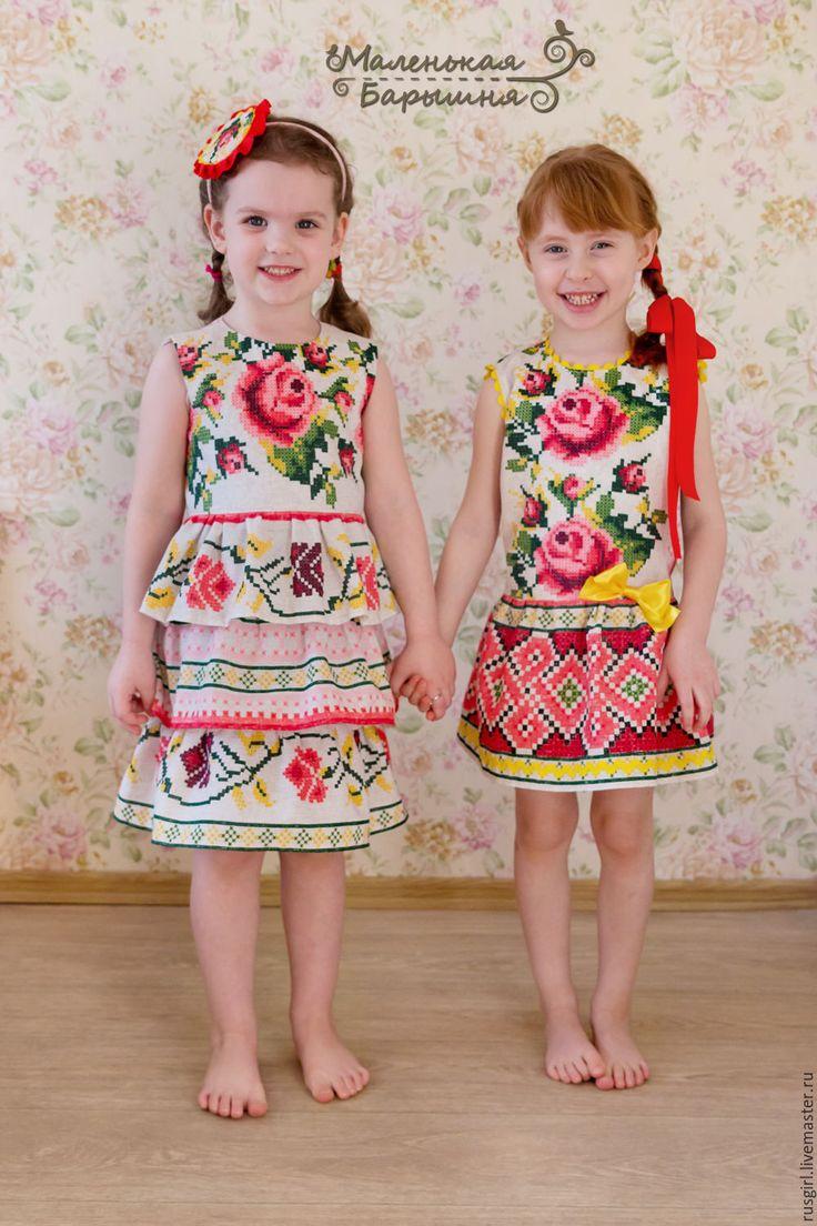 """Платье для девочки """"Таюша"""" в русском стиле """"вышивка крестиком"""""""