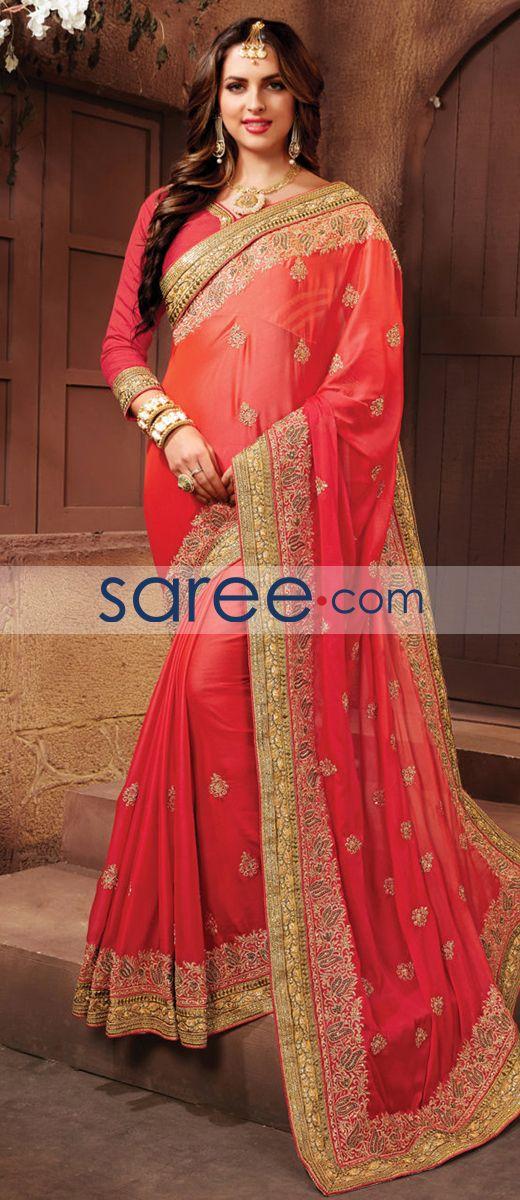 RED SATIN CHIFFON SAREE WITH EMBROIDERY WORK  #Saree #GeorgetteSarees #IndianSaree #Sarees  #SilkSarees #PartywearSarees #RegularwearSarees #officeWearSarees #WeddingSarees #BuyOnline #OnlieSarees #GeorgetteSarees #NetSarees #ChiffonSarees #DesignerSarees #SareeFashion