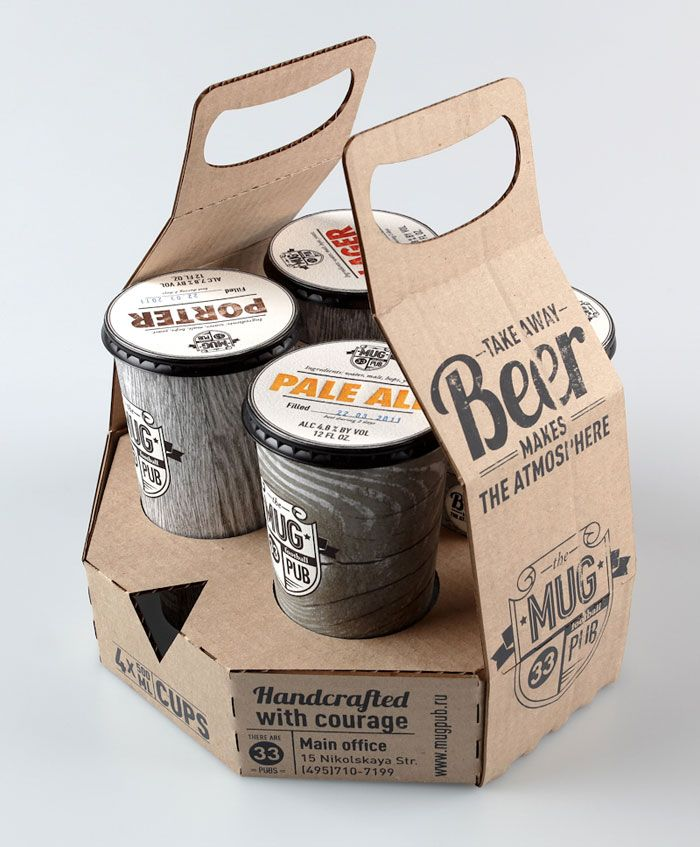 """""""Take Away Beer, Makes the Atmosphere!"""", Ivan Maximov, a design student from Russia created packaging design and rebranding for the Mug pub, a chain of football pubs in Moscow."""