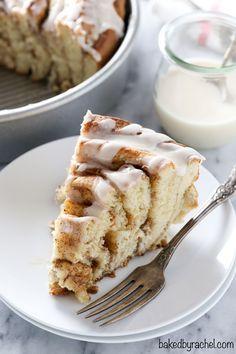 Giant fluffy homemade cinnamon roll cake with a sweet vanilla glaze. Recipe from @bakedbyrachel: