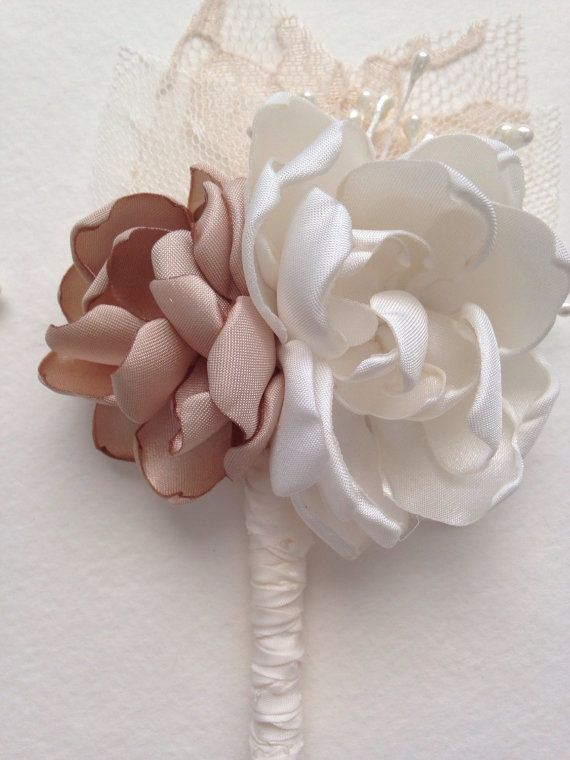 Double Flower Boutonniere Cream and by TheVintageCabbgeRose