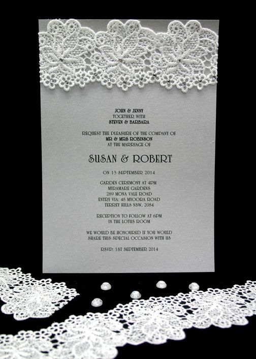 Wedding Invitation embellished with lace crochet LC602 and adhesive diamante stick on ADSO-D-4.  www.embellishmentgallery.com.au
