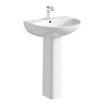 Compact Round 1 tap hole full pedestal basin 550mm