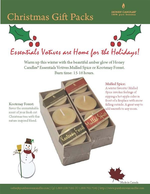 Bring Beeswax Votives with Essential Oils Home for the Holidays - now there's a perfect stocking stuffer!