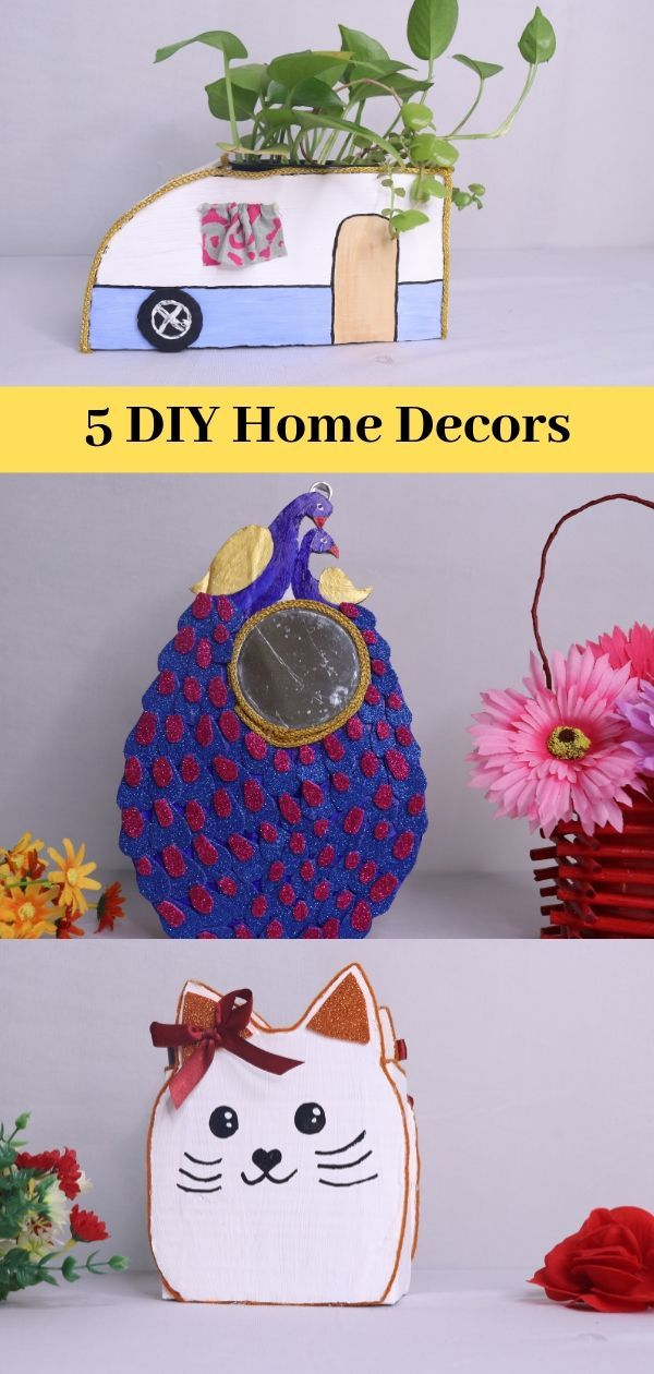 5 Diy Home Decor Ideas Easy Crafts Fun Projects For Kids Cardboard Crafts