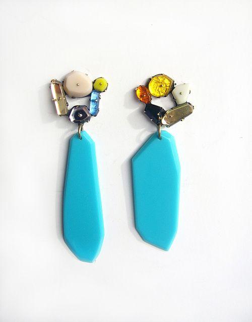 Nikki Couppee - Blue Drop Earrings- plexiglass, brass, fine silver - 440$ at Heidi Lowe Gallery -