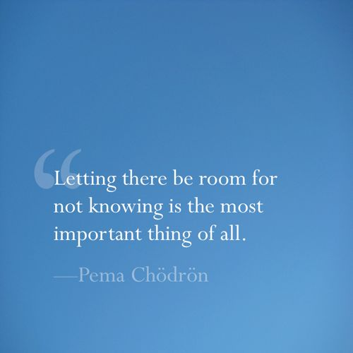 Pema Chodron ~ Letting there be room for not knowing is the most important thing of all