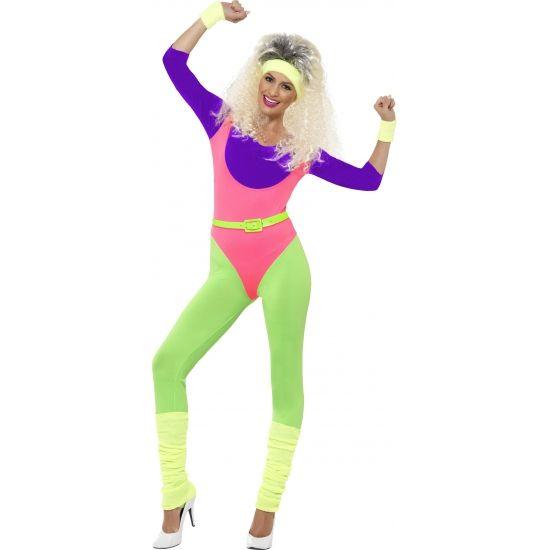 Jaren 80 jumpsuit voor dames. Jaren 80 aerobics kostuum geschikt voor volwassenen. Bestaande uit een jumpsuit, hoofdband en polsbandjes.