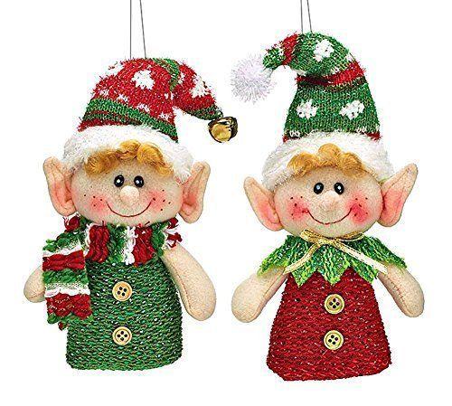 Pelucia-pendurado-Natal-ornamentos-Elf-Conjunto-De-2-Em-Vermelho-E-Verde