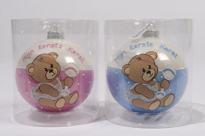"""Roze en blauwe kerstbal """"Mijn Eerste Kerst"""" met berenprint."""