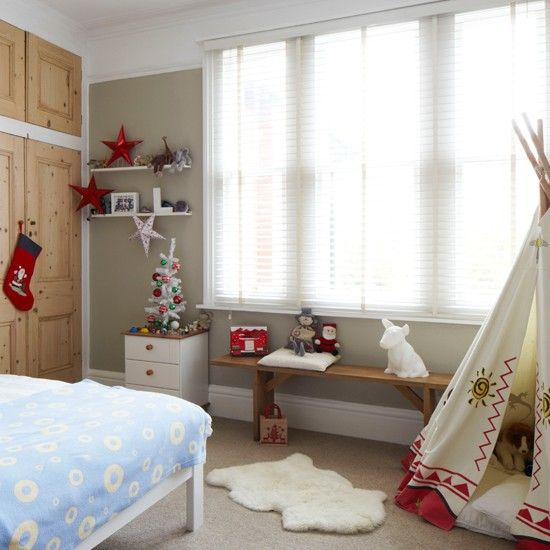 Kids Bedroom, Captivating Boys Teepee Bedroom Christmas Nuance Design Ideas With Blue Round Pattern Blanket And Indian Tent Also Wooden Cabinet In The Corner: Awesome Increase the Kids Bedroom Decoration with Christmas Bedroom Ornaments