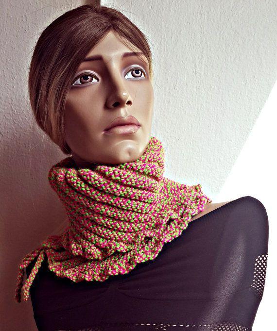 Unique Hand knit Green & Pink Scarf Neck Warmer by SimArtShop