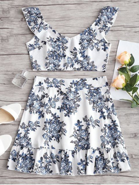 43aa9f91b44d Shop for Ruffles Floral Crop Top and Skirt Set FLORAL: Two-Piece Outfits M at  ZAFUL. Only $19.33 and free shipping!