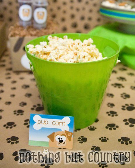 """#Puppy Party Treats: """"Pup Corn"""" Party ideas **see additional posts with tutorials**"""
