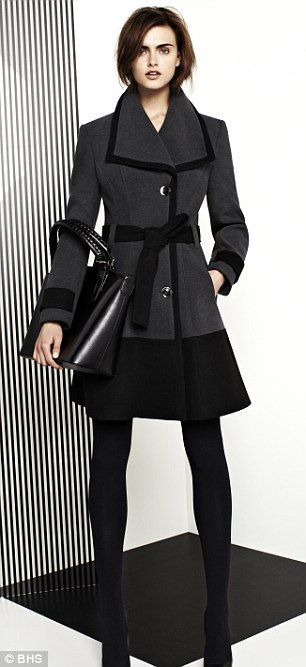 Wearable: The store hope their new collection evokes simplicity, elegance and sophistication (L-belted coat £65, bag £28, R- biker jacket £55, roll neck £10, jeans £22)