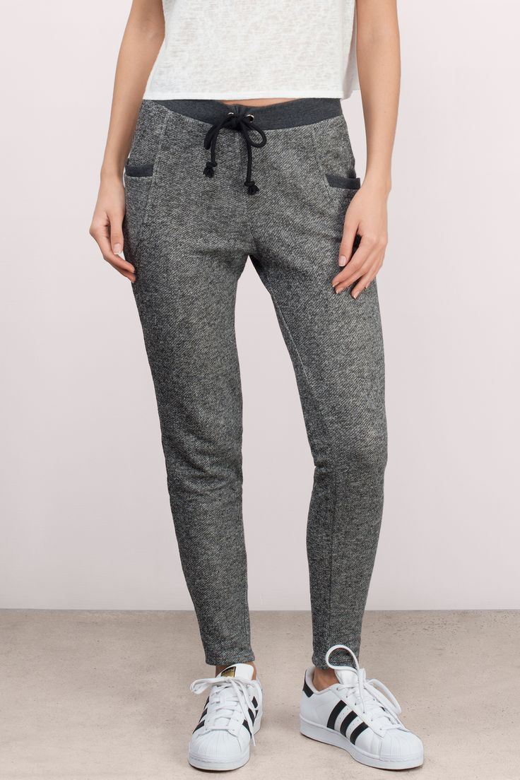 "Search ""Coffee Run Heather Grey Sweat Pants"" low mid rise pocket joggers elastic stretchy comfy lounge loungewear sleep pajamas"