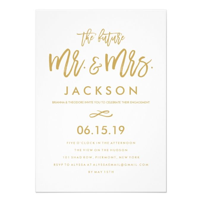 The 25 best engagement party invitations ideas on pinterest diy chic hand lettered gold engagement party card stopboris Gallery