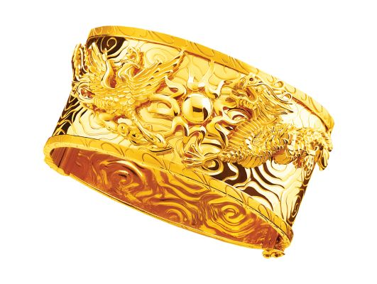 gold 916 dragon and phoenix bangle chinese wedding