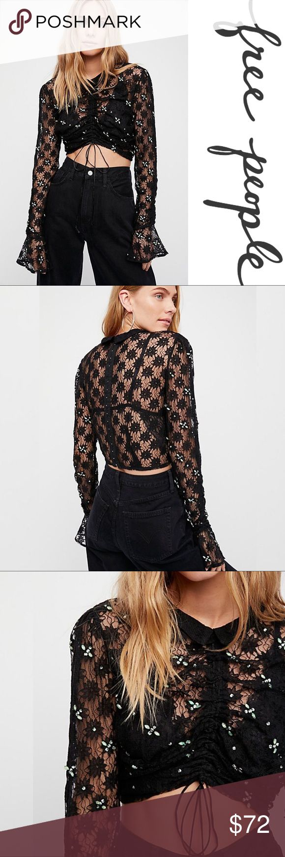 NWT Free People Dazzle Top ➖NWT ➖BRAND: Free People ➖SIZE: Medium ➖STYLE: Sheer lace long sleeve top featuring shimmering embellishments allover, a cute cropped shape and a femme feel. Features : Front ruching : Back hook and eye closures : Flared Bell sleeve cuffs  ❌ NO TRADE  Mesh  Entropycat Free People Tops Crop Tops